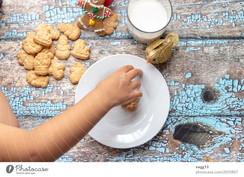 Cute little girl is playing with Santa's cookies Eating Lifestyle Joy Happy Beautiful Playing Winter Table Feasts & Celebrations Christmas & Advent Child