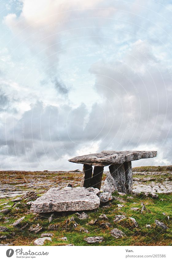 Poulnabrone Dolmen III Landscape Sky Clouds Beautiful weather Grass Rock Ireland Tomb Monument Tourist Attraction Stone Blue Green Calm HDR Colour photo