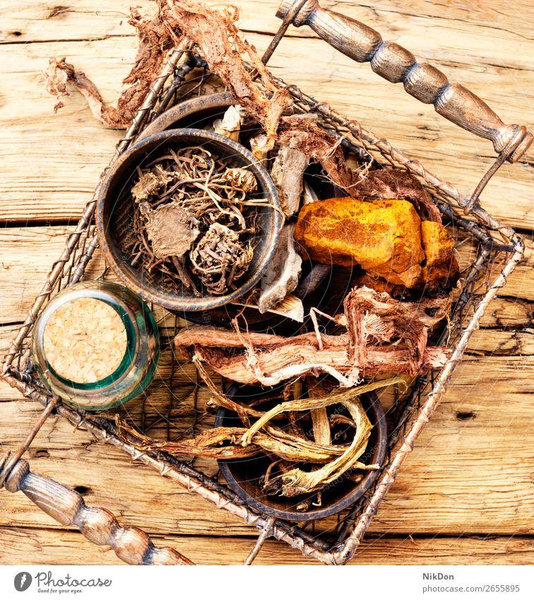 Set of roots of medicinal plants acorus calamus basket dry medicine health herb valerian rhizomes Hedysarum organic healthy herbalist herbalism traditional