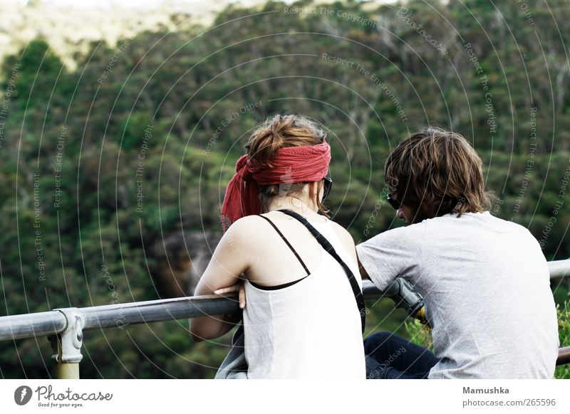 Human being Nature Youth (Young adults) Vacation & Travel Summer Forest Adults Far-off places Landscape Feminine To talk Mountain Freedom Think Couple Dream