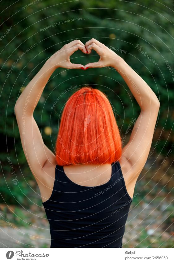 Girl making a heart shape symbol Happy Beautiful Harmonious Freedom Summer Valentine's Day Human being Woman Adults Family & Relations Friendship Hand Nature
