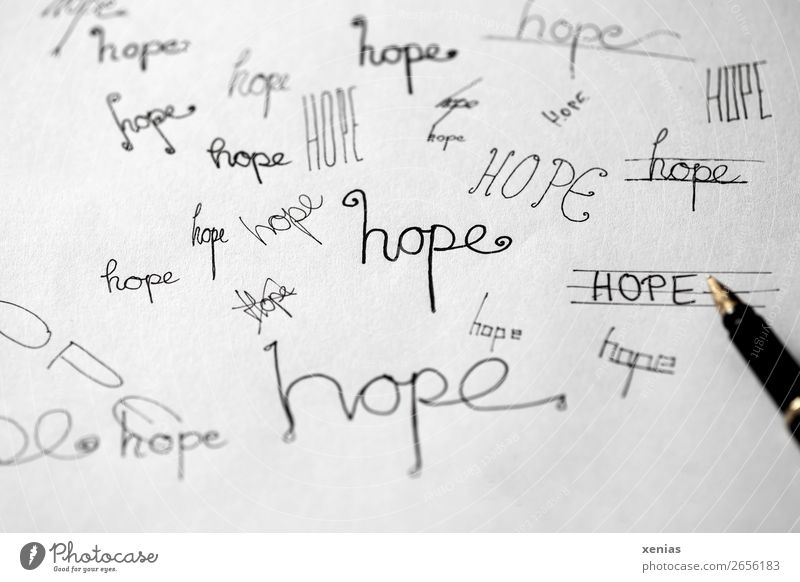 hope, handwritten variants in black ink Fountain pen Characters Write Handwriting Gold Black White Emotions Optimism To console Hope Letters (alphabet) Distress