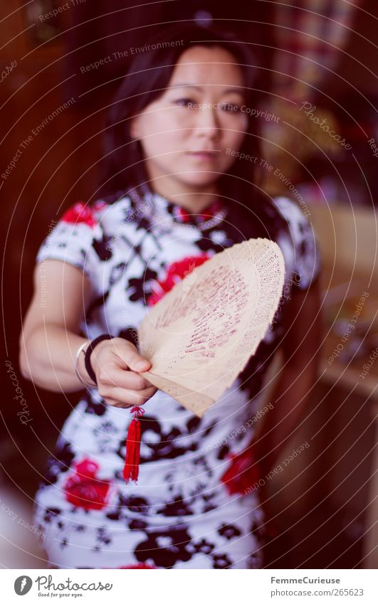 Woman fanning herself. Young woman Youth (Young adults) Adults Arm Hand 1 Human being 18 - 30 years Movement Culture Colour Guide wag Retentive Indicate