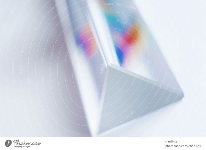 crystal prism where it can be seen a rainbow on white Beautiful White Design Bright Glass Esthetic Simple Depth of field Wallpaper Material Physics Rainbow