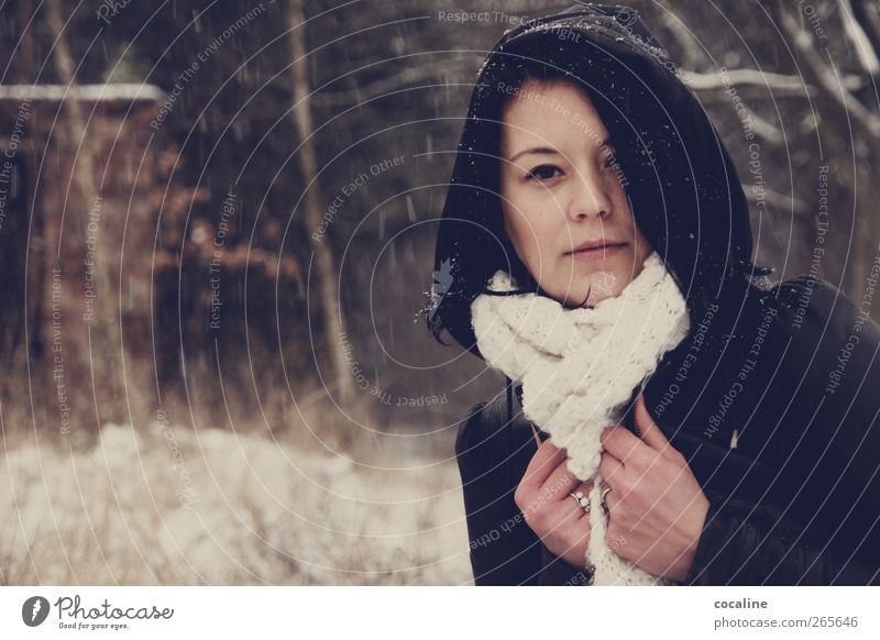 Human being Woman Youth (Young adults) Winter Loneliness Adults Cold Feminine Snowfall Moody Natural Esthetic Authentic Young woman 18 - 30 years Cool (slang)