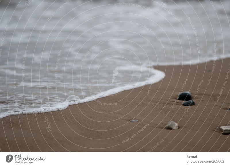 beach torque Relaxation Summer vacation Beach Ocean Waves Environment Nature Sand Water Bad weather Coast Stone Lie Brown Calm Flow Sandy beach Colour photo
