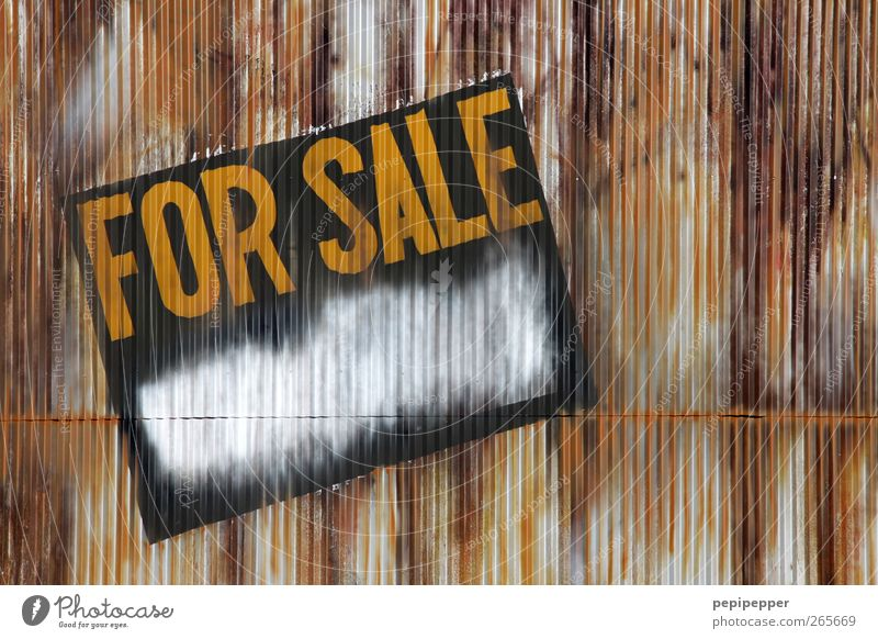all for sale Shopping Moving (to change residence) Construction site Building Architecture Facade Watercraft Rust Stripe Sell Dirty Broken Trashy Brown Yellow
