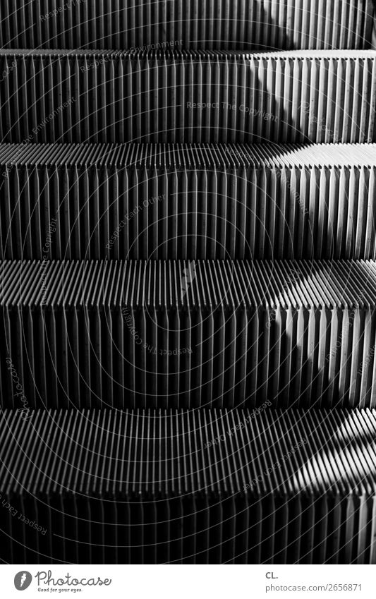escalator Stairs Lanes & trails Escalator Metal Mobility Perspective Stagnating Upward Direction Black & white photo Exterior shot Abstract Pattern