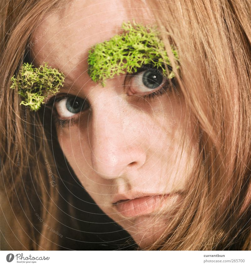 after 5 in the primeval forest Feminine Young woman Youth (Young adults) Face Eyes 1 Human being 18 - 30 years Adults Moss Exotic Personal hygiene
