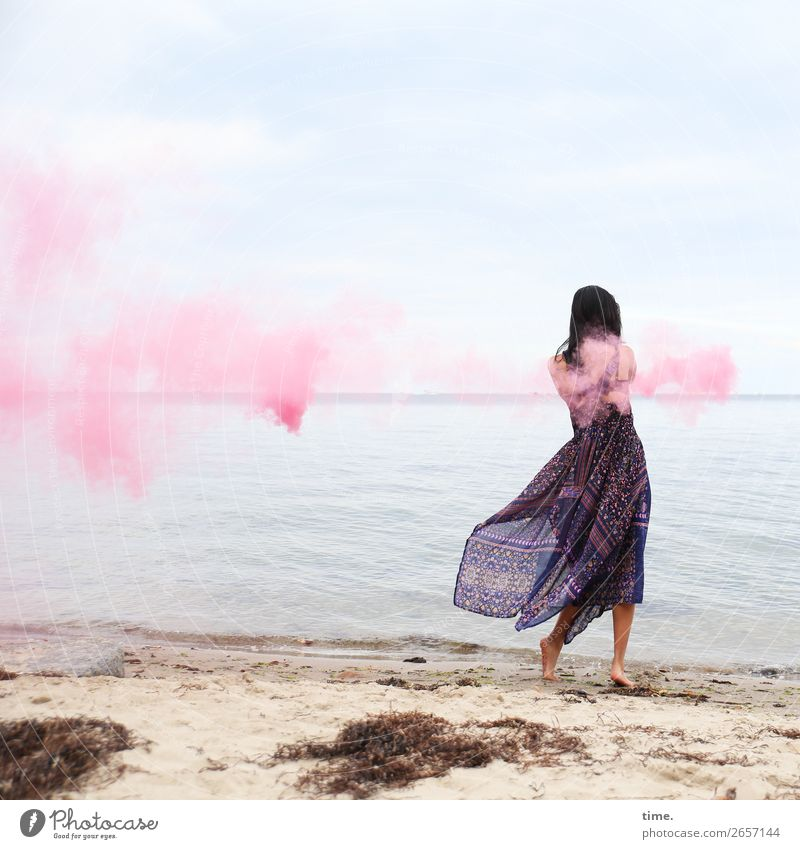 pink steam (IV) Feminine Woman Adults 1 Human being Sand Water Sky Horizon Coast Beach Baltic Sea Dress Barefoot Black-haired Long-haired Smoke Smoke signal