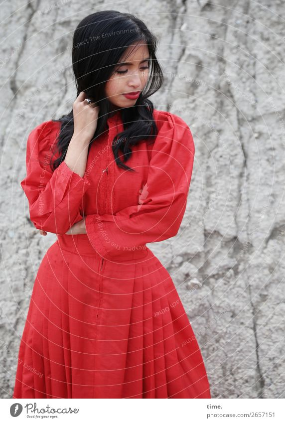 Pinkaholickaye Feminine Woman Adults 1 Human being Rock Mountain Dress Black-haired Long-haired Observe Think To hold on Looking Stand pretty Gray Red Passion