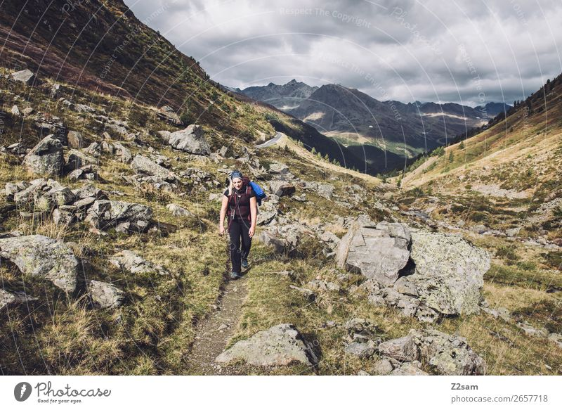 Ascent to the Timmelsjoch | E5 Hiking Sports Young woman Youth (Young adults) Nature Landscape Autumn Meadow Alps Mountain Relaxation Athletic Gigantic Power
