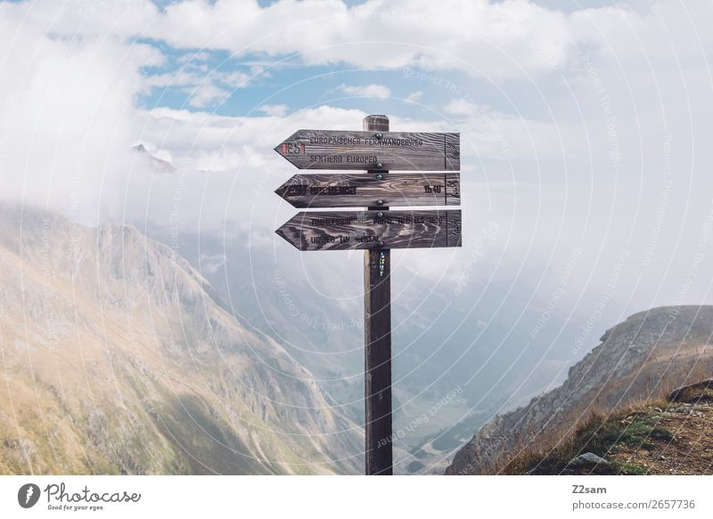 Signpost at the Timmelsjoch | E5 Adventure Hiking Nature Landscape Sky Clouds Alps Mountain Peak Tall Loneliness Testing & Control Lanes & trails yoke of heaven