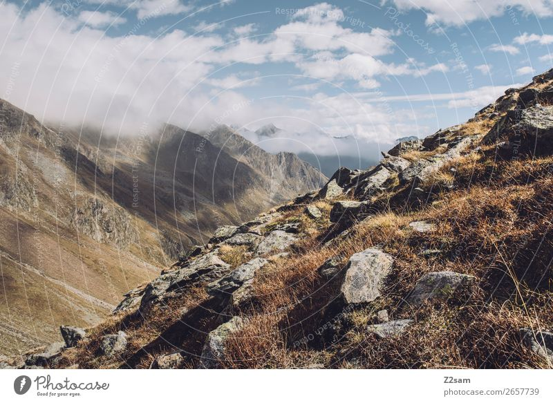 Timmelsjoch, South Tyrol, E5. Adventure Mountain Hiking Environment Nature Landscape Sky Clouds Autumn Beautiful weather Fog Alps Peak Tall Sustainability