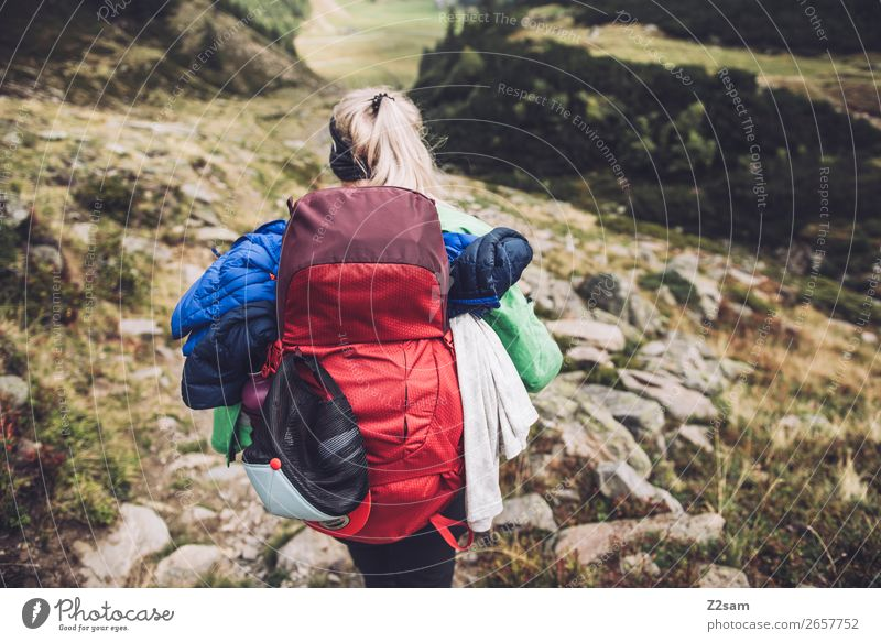 Young woman hiking | E5 Leisure and hobbies Vacation & Travel Adventure Expedition Hiking Youth (Young adults) 18 - 30 years Adults 30 - 45 years Nature