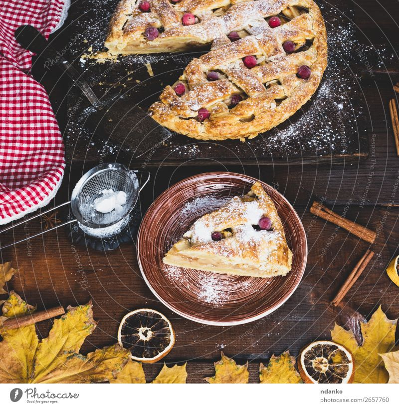 piece of traditional apple pie puff pastry White Eating Wood Autumn Yellow Brown Fruit Above Nutrition Fresh Vantage point Table Cooking Delicious Kitchen
