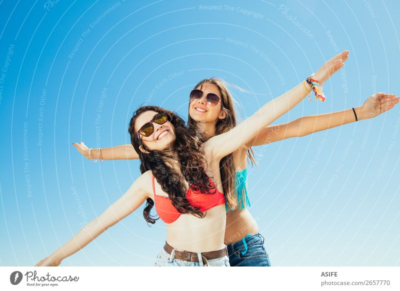 Best friends flying to the beach Joy Happy Vacation & Travel Tourism Summer Beach Ocean Woman Adults Friendship Youth (Young adults) Nature Sand Sky Airplane