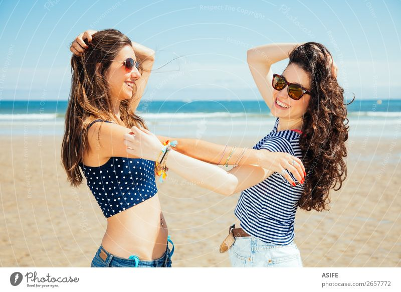 Funny best friends on the beach laughing Joy Happy Vacation & Travel Tourism Summer Beach Ocean Woman Adults Friendship Youth (Young adults) Nature Sand Sky