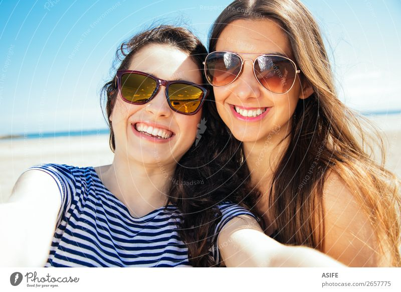 Happy selfie friends on the beach Joy Vacation & Travel Tourism Summer Beach Ocean PDA Camera Technology Woman Adults Friendship Youth (Young adults) Nature