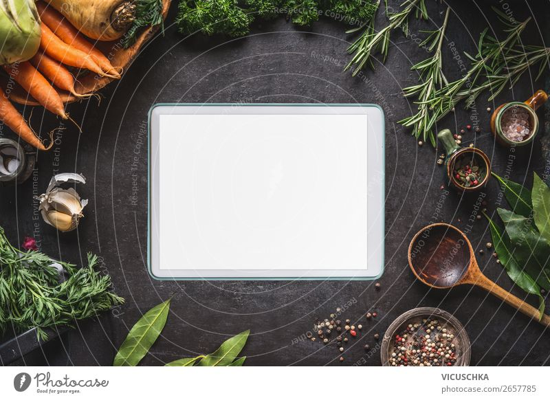 Tablet PC and healthy food Food Vegetable Herbs and spices Cooking oil Nutrition Organic produce Vegetarian diet Diet Crockery Shopping Design Healthy Eating