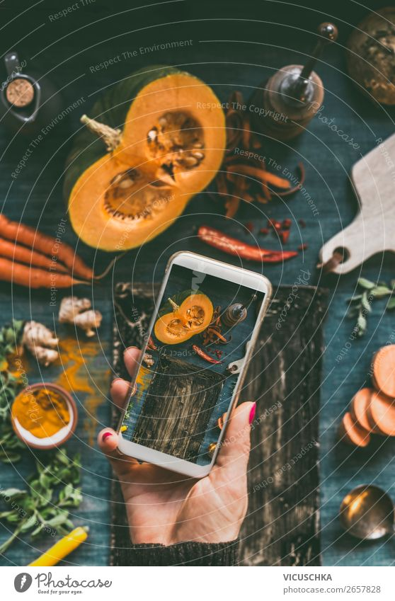 Women's hand makes food photo with mobile phone Food Vegetable Design Cellphone PDA Internet Human being Woman Adults Hand Clever Online Blog Background picture