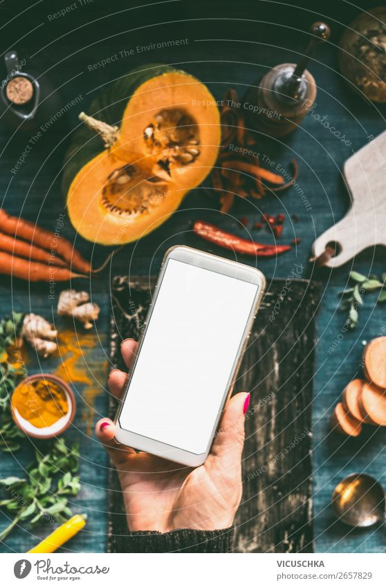 Hand with smartphone and food Food Vegetable Shopping Design Healthy Eating PDA Internet Feminine Woman Adults Style Online Blog Background picture screen