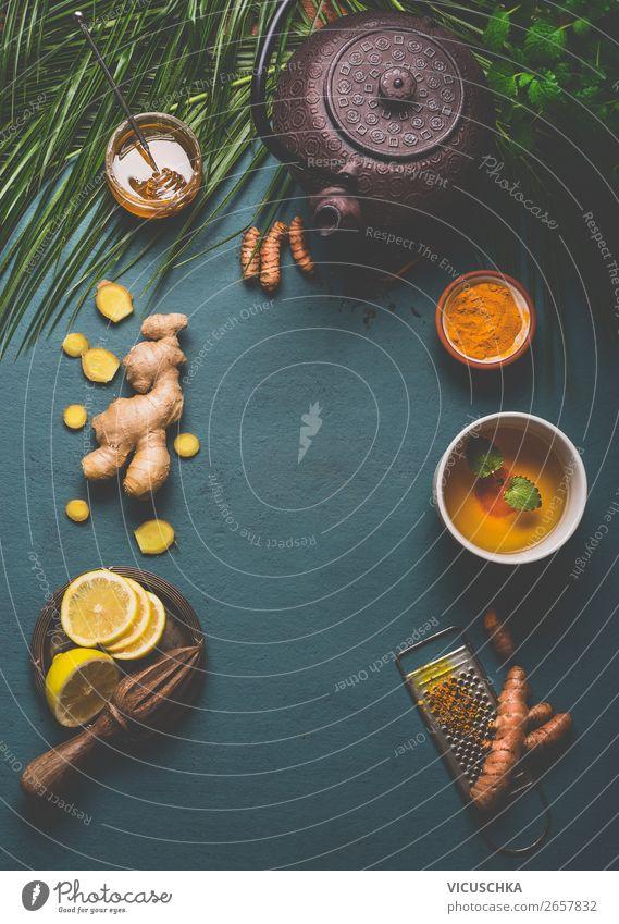 Turmeric Tea Ingredients Food Herbs and spices Nutrition Breakfast Organic produce Vegetarian diet Diet Beverage Hot drink Crockery Cup Style Design Healthy