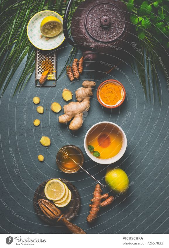 Ingredients for turmeric tea Food Herbs and spices Organic produce Vegetarian diet Diet Beverage Hot drink Tea Crockery Bowl Cup Mug Style Design Healthy
