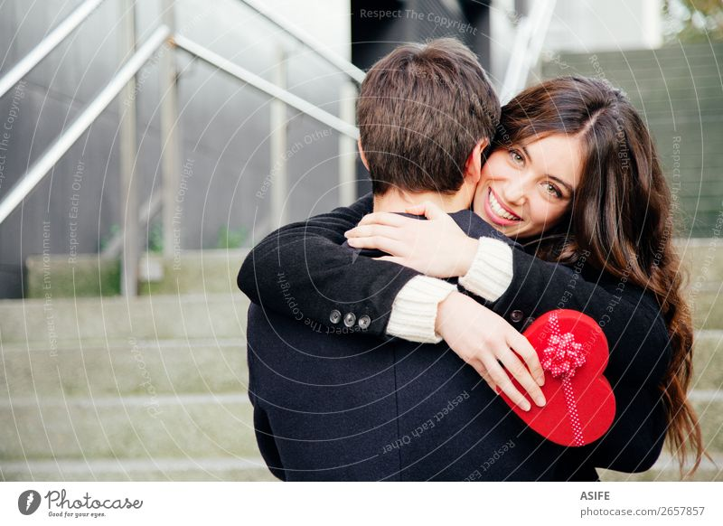 Valentines couple in love Woman Man Beautiful Red Hand Joy Winter Black Adults Autumn Love Emotions Happy Feasts & Celebrations Couple Together
