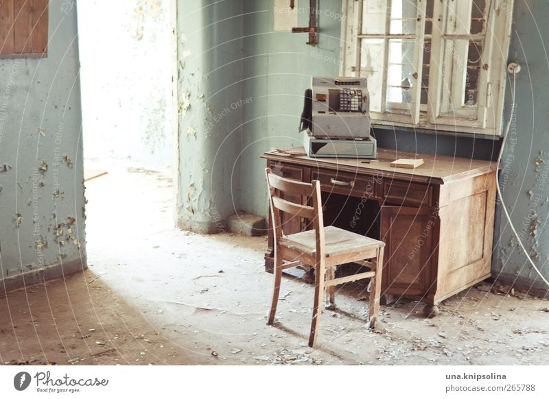Old Window Wall (building) Wall (barrier) Interior design Room Facade Dirty Broken Chair Transience Desk Past Decline Ruin Cash register