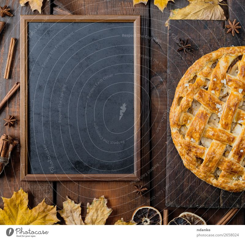 black chalk board and baked fruit cake Fruit Apple Cake Dessert Candy Table Kitchen Blackboard Autumn Leaf Wood Fresh Above Brown Yellow Tradition American