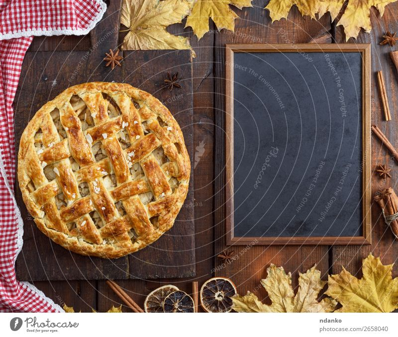 empty black chalk board and baked whole fruit cake Leaf Eating Wood Autumn Yellow Brown Fruit Above Fresh Vantage point Table Cooking Kitchen Baked goods Candy