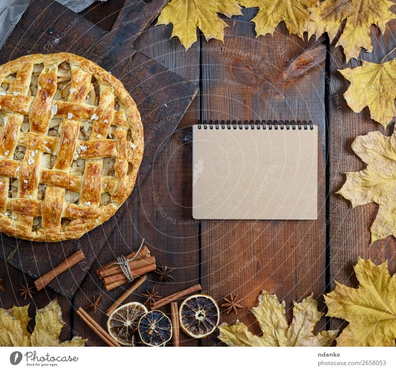 baked whole round apple pie Fruit Apple Dessert Candy Table Kitchen Autumn Wood Fresh Delicious Above Brown Tradition notebook recipe empty Menu American Baking