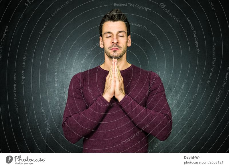 pray II Lifestyle Harmonious Well-being Contentment Senses Relaxation Calm Meditation Human being Masculine Young man Youth (Young adults) Man Adults Face 1