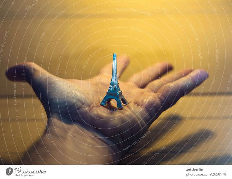Hand Small Tourism Copy Space To hold on Landmark France Toys Indicate Paris Presentation Replication Souvenir Palm of the hand Eiffel Tower