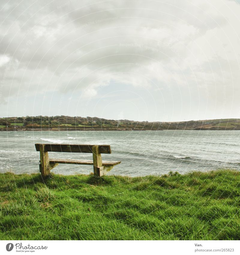 listen to the sound of the sea Landscape Water Sky Clouds Plant Grass Hill Waves Coast Bay Ocean Atlantic Ocean Ireland Wood Green Calm Freedom Remote Bench