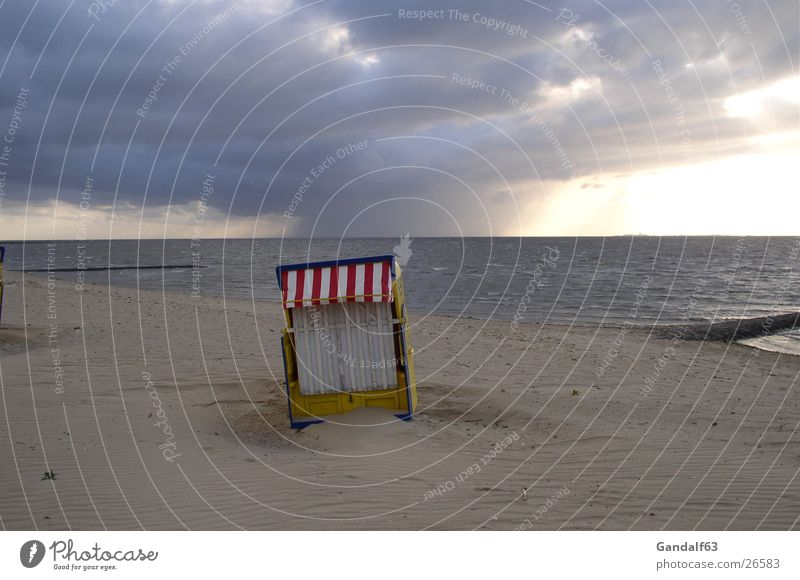 Beach Sand Europe Thunder and lightning Storm Beach chair Lower Saxony Cuxhaven