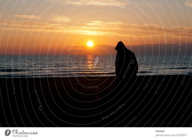 Hood up. Sun down. Human being Masculine Man Adults Life Back Silhouette 1 Environment Nature Landscape Water Sky Clouds Sunrise Sunset Sunlight Summer