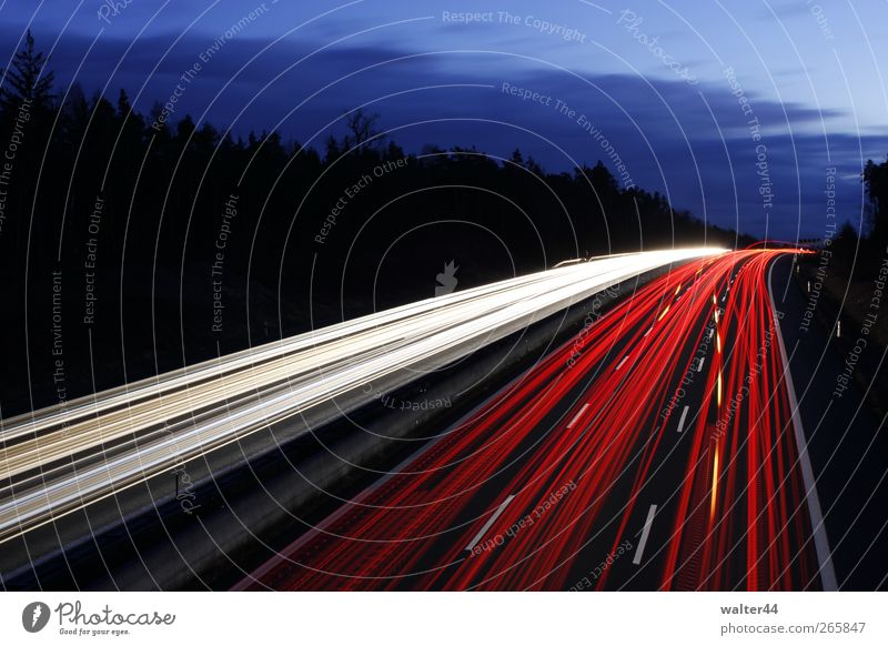 Light tracks A9 Sky Clouds Transport Traffic infrastructure Road traffic Motoring Street Highway Vehicle Car Truck Movement Driving Illuminate Red White