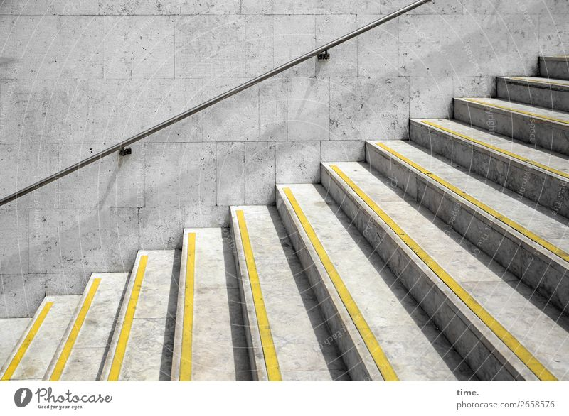 step by step by Beautiful weather Lisbon Wall (barrier) Wall (building) Stairs Underground Banister Warning colour pedestrian Lanes & trails Stone Concrete