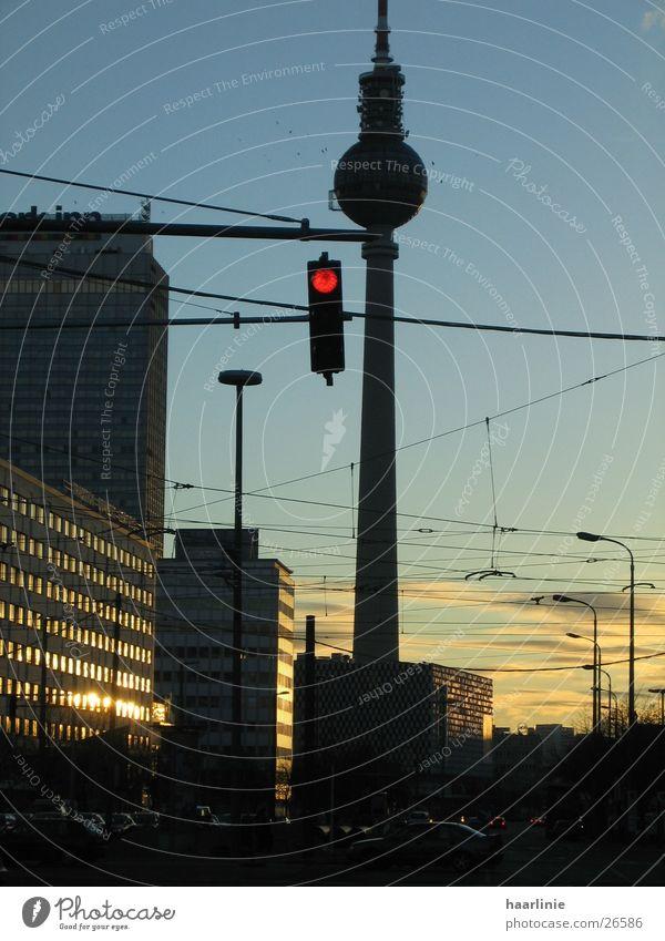 evening at alex/berlin Transmitting station Dusk Building Traffic light Sunset Architecture Berlin Urban life big city Urban Impression transport network