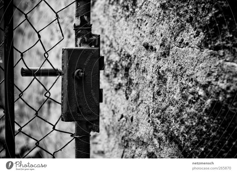 Open door Factory Ruin Gate Wall (barrier) Wall (building) Door Old Dirty Creepy Cold Broken Dry Gray Black White Protection Adventure Rust garden door