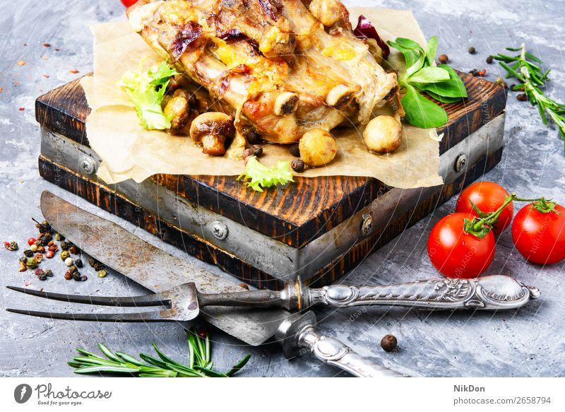 Roasted sliced pork food meat baked beef mushroom roasted prepared cuisine delicious lunch plate vegetable dish tomato grilled herb fillet pepper sirloin loaf