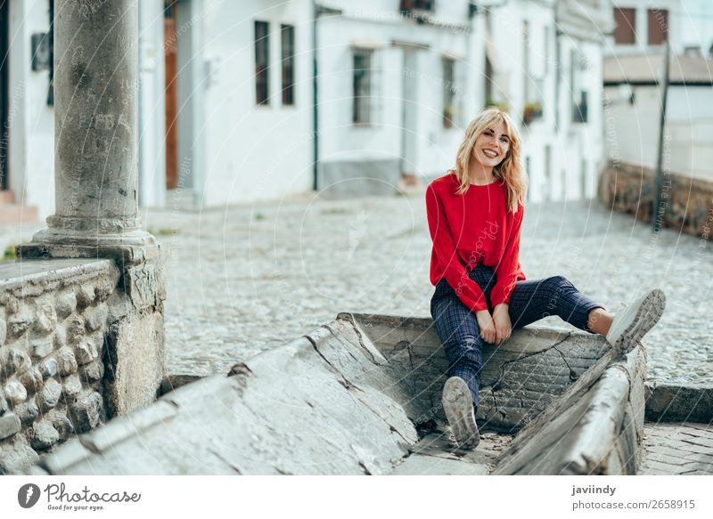 Smiling blonde girl with red shirt enjoying life outdoors. Style Beautiful Hair and hairstyles Human being Feminine Young woman Youth (Young adults) Woman
