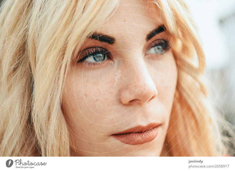Young blonde girl with beautiful blue eyes. Woman Human being Youth (Young adults) Beautiful White 18 - 30 years Street Lifestyle Adults Feminine Laughter Happy