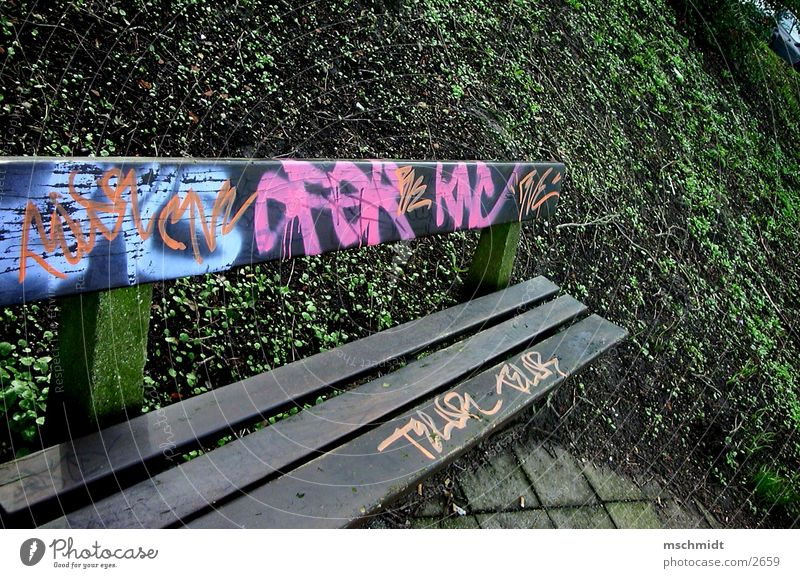 bathroom bench Spray Tagger Things Bench Dirty Graffiti Colour