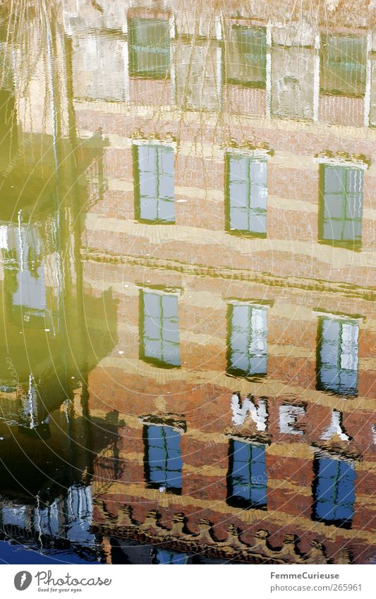 Reflection. Small Town Port City Dream house Factory Bridge Architecture Facade Balcony Window Brown Channel River Water Wall (building) Opposite Perspective