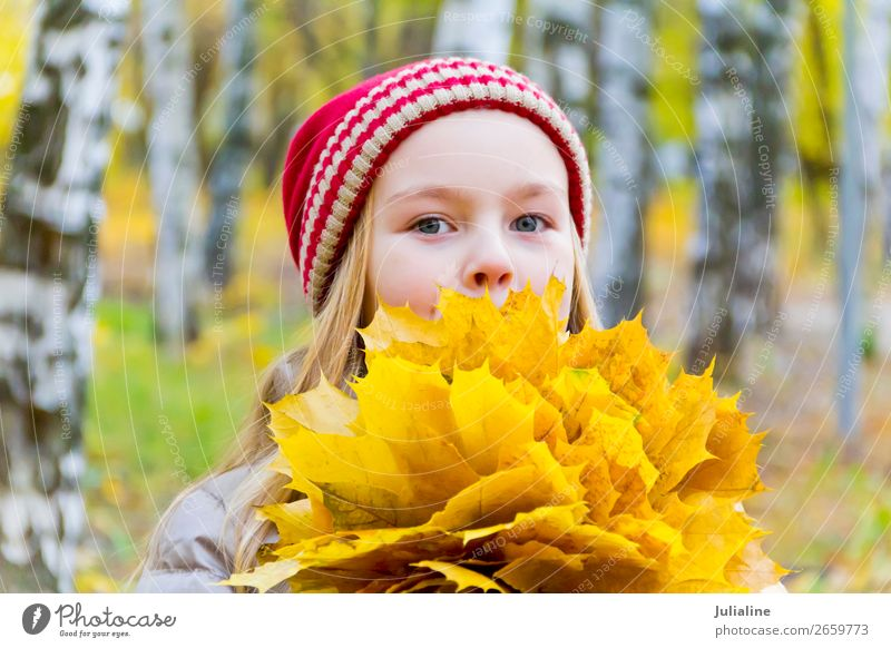 Girl with bouquet from sheets Herbs and spices Child Schoolchild Woman Adults Infancy 1 Human being Plant Autumn Leaf Hat Blonde Cute Red White girl Lady