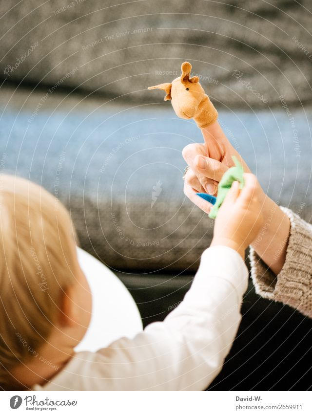 Finger puppets II Lifestyle Harmonious Well-being Contentment Senses Playing Living or residing Flat (apartment) Parenting Human being Feminine Child Toddler