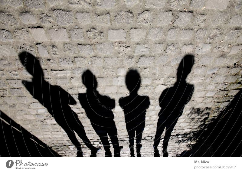 shadow men Masculine 4 Human being Stand Black Shadow Shadow play Paving stone Posture Wall (barrier) Silhouette Protection Structures and shapes Contrast Light